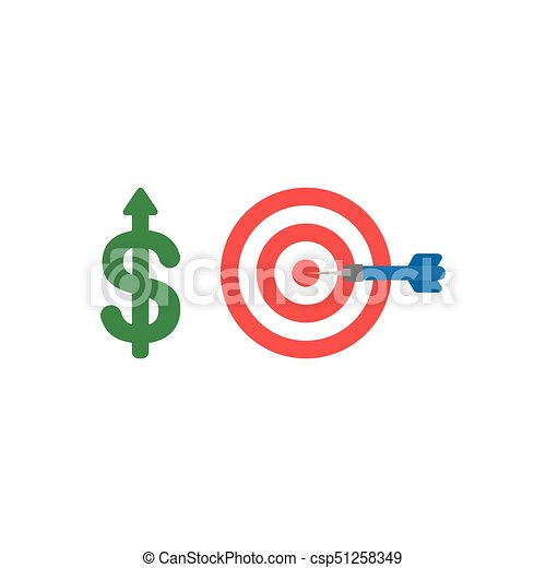 Flat design vector concept of dollar up with bulls eye and dart in the center - csp51258349