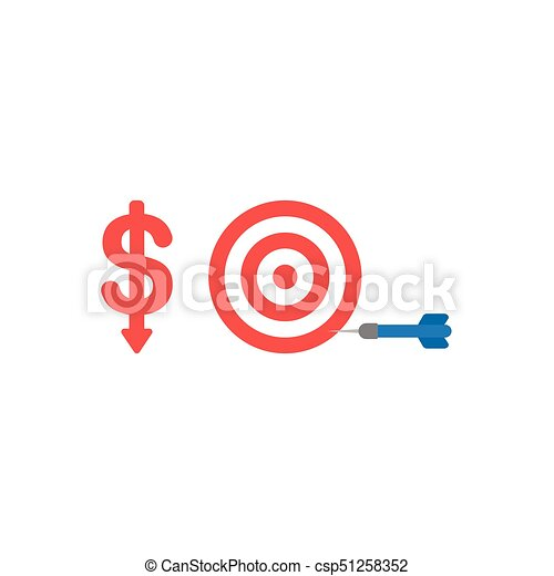 Flat design vector concept of red dollar down with bulls eye and dart in the side - csp51258352