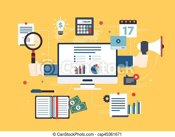 Flat design vector illustration concept of financial investment, analytics with growth report. - csp45361671