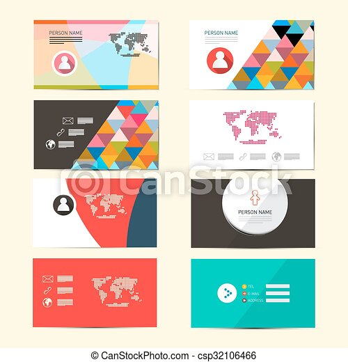 Flat design vector paper business card template layout set flat design vector paper business card template layout set isolated on retro background reheart Gallery