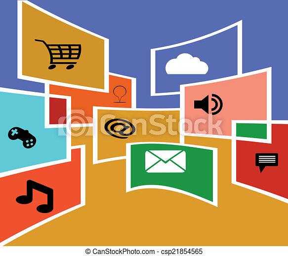 Flat design vector social media - csp21854565
