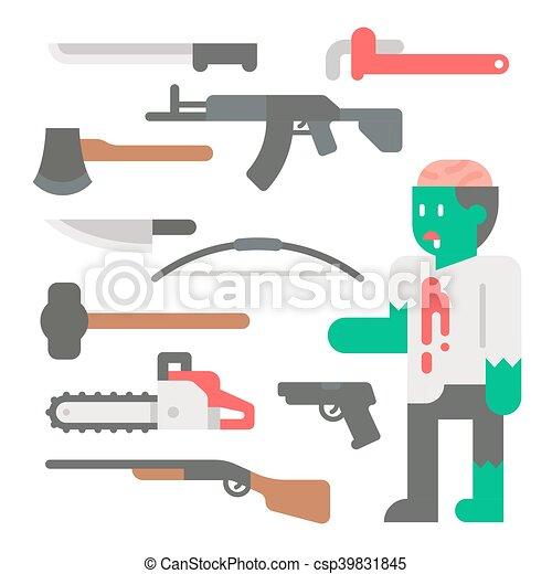 Flat design zombie apocalypse item set - csp39831845