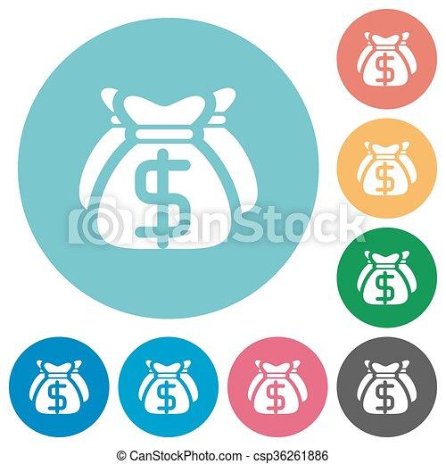 Flat dollar bags icons - csp36261886