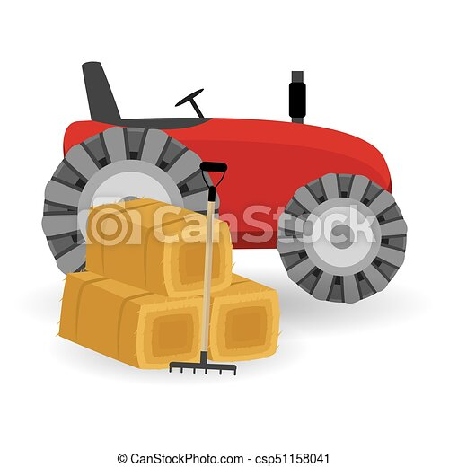 Flat dried haystack with hayfork isolated on whit background and Tractor. - csp51158041