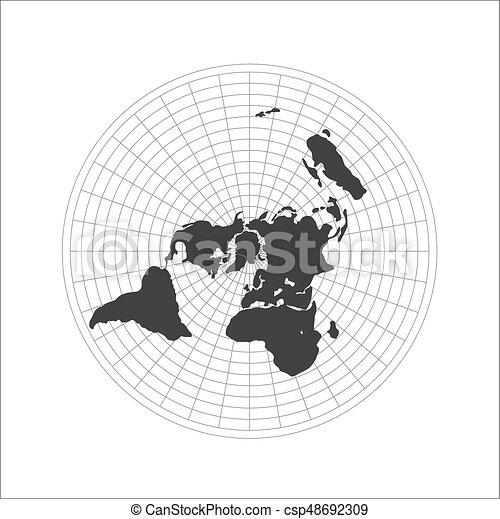 Flat earth map logo. vector illustration. Flat earth map logo