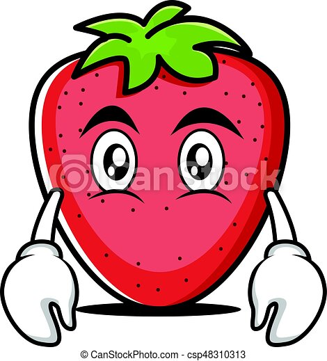 Flat face strawberry cartoon character - csp48310313