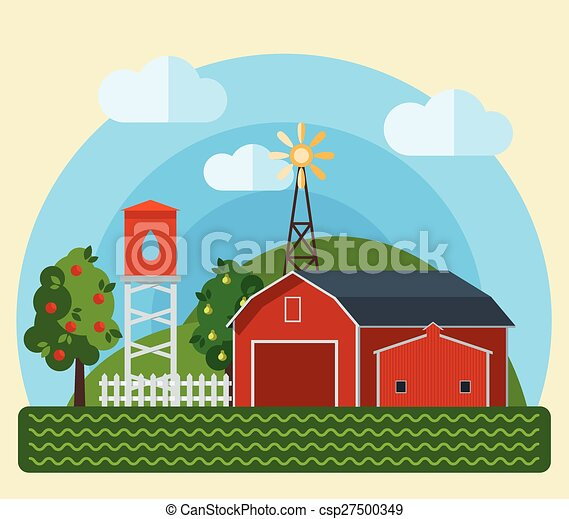 Flat Farm Landscape - csp27500349