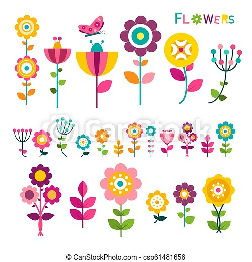 Flat Flower. Colorful Spring Flowers Icons Isolated on White Background. Vector. - csp61481656