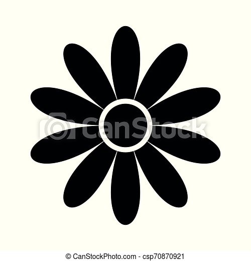 flat flower icons silhouette isolated on white. Cute retro design. - csp70870921