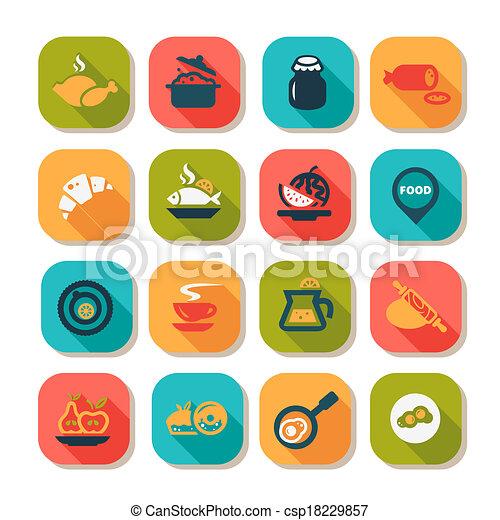 flat food icon set - csp18229857