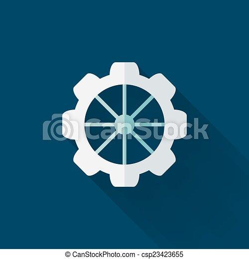 Flat gear wheel icon over blue - csp23423655