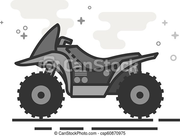 Flat Grayscale Icon - All terrain vehicle - csp60870975