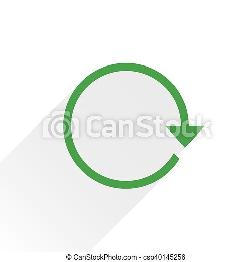 Flat green arrow icon refresh sign on white - csp40145256