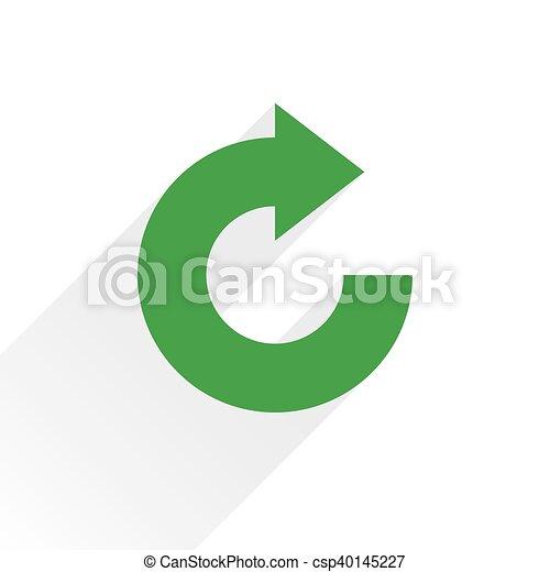 Flat green arrow icon rotation, reset sign - csp40145227
