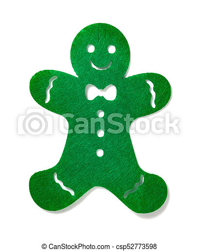 flat green gingerbread man on a white background - csp52773598