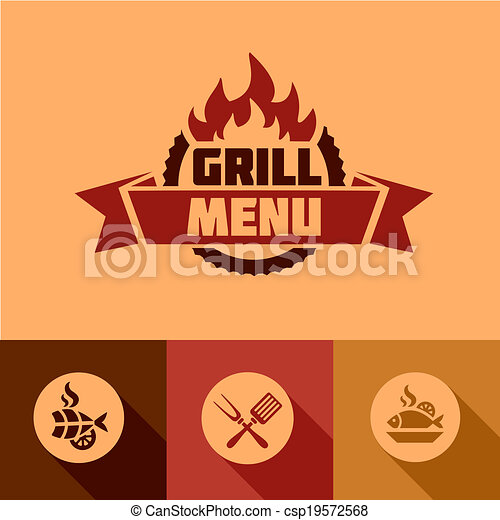 flat grill menu design elements - csp19572568