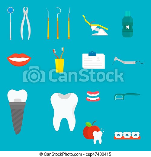 Flat Health Care Dentist Medical Tools Medicine Instrument Hygiene Stomatology Vector Illustration