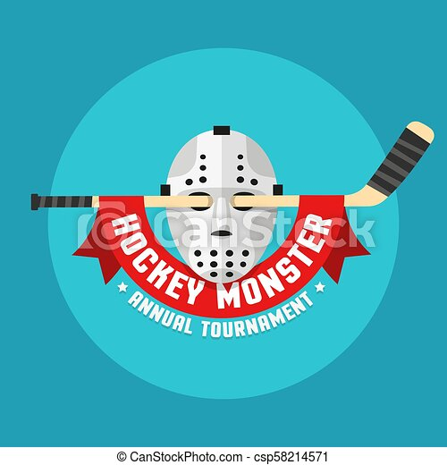 Flat hockey logo of retro hockey mask - csp58214571