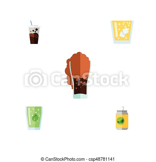 Flat Icon Beverage Set Of Carbonated, Cup, Beverage And Other Vector Objects. Also Includes Fizzy, Soda, Lemonade Elements. - csp48781141