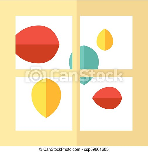 Flat Icon Falling Leaves Window Falling Leaves Icon In Flat Color Style Autumn Fall Falling Windy Weather Forecast