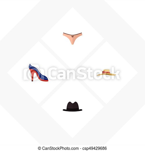 Flat Icon Garment Set Of Panama, Elegant Headgear, Heeled Shoe And Other Vector Objects. Also Includes Woman, Fedora, Underwear Elements. - csp49429686