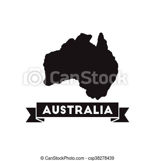 Australia Map Icon.Flat Icon In Black And White Australia Map