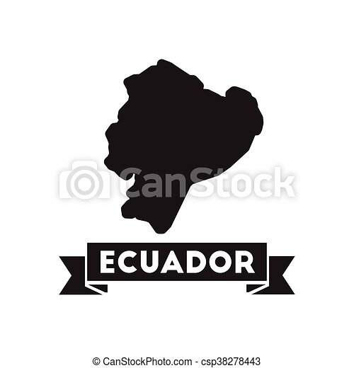 Flat icon in black and white Ecuador map - csp38278443