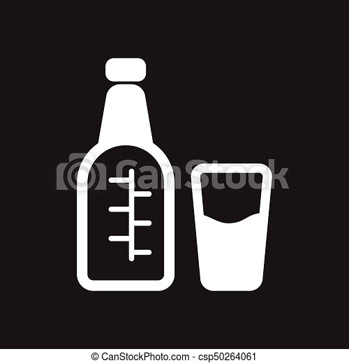 Flat icon in black and white glass bottle csp50264061