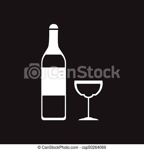 Flat icon in black and white glass wine bottle csp50264069