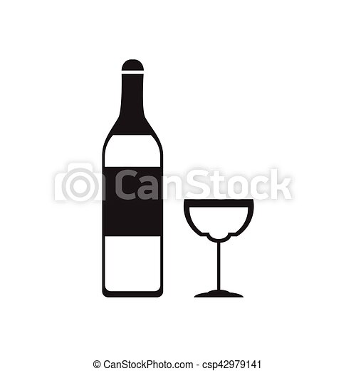 Flat icon in black and white glass wine bottle csp42979141