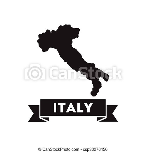 Black And White Map Of Italy.Flat Icon In Black And White Italy Map