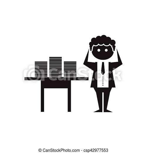 Flat icon in black and white office worker - csp42977553