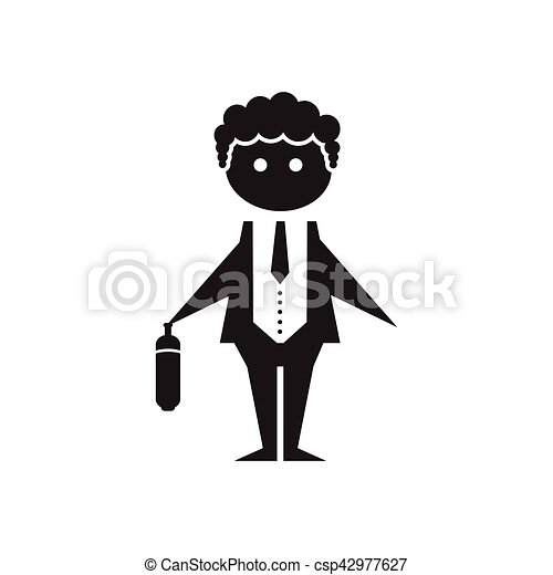 Flat icon in black and white office worker - csp42977627