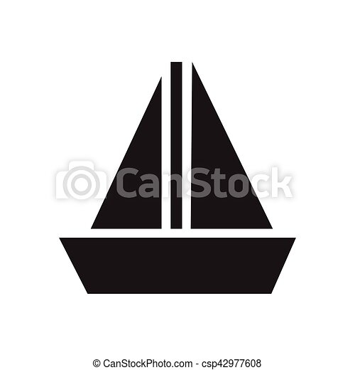 Flat Icon In Black And White Sailing Ship Flat Icon In Black And