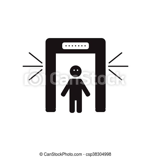 flat icon in black and white style people scanner - csp38304998