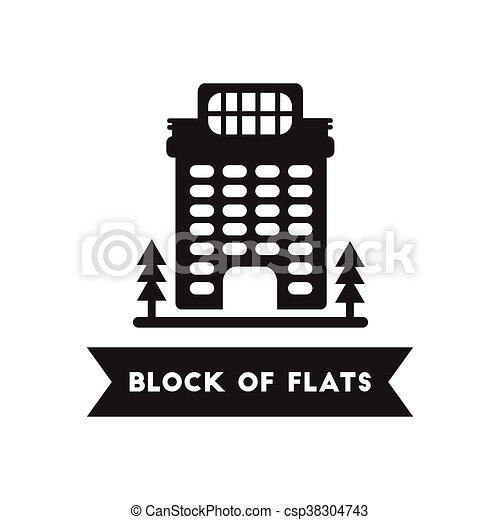 flat icon in black and white style building apartment block flat
