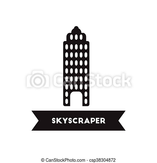 Flat Icon In Black And White Style Building Skyscraper