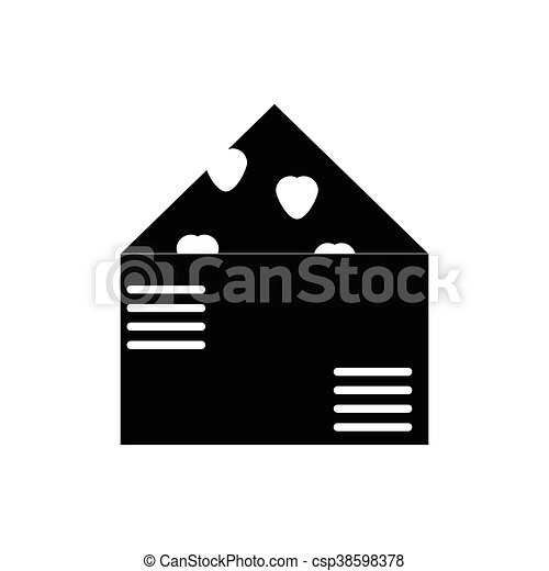 Flat Icon In Black And White Style Love Letter