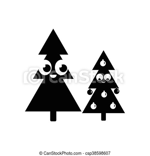 Flat Icon In Black And White Style Christmas Tree