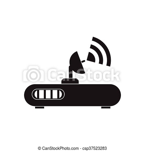 Flat icon in black and white Wi fi modem - csp37523283