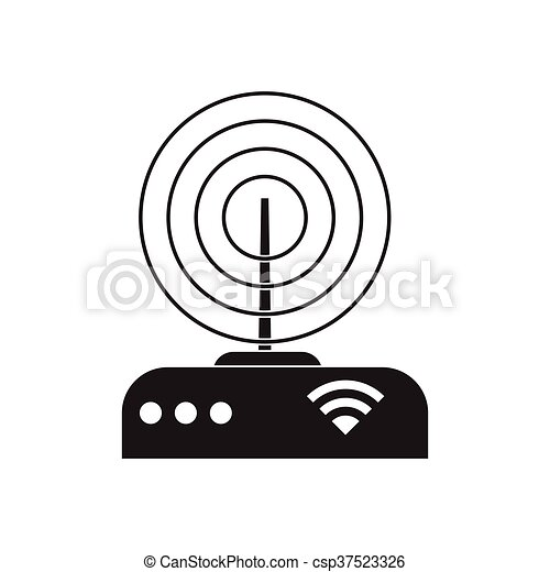 Flat icon in black and white Wi fi modem - csp37523326