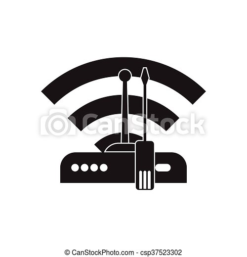 Flat icon in black and white Wi fi modem - csp37523302