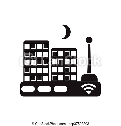 Flat icon in black and white Wi fi modem - csp37523303
