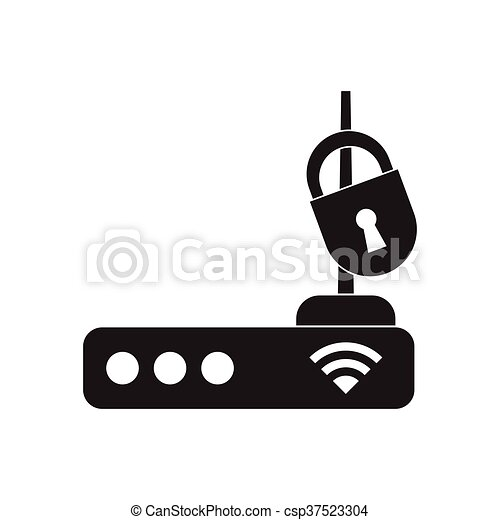 Flat icon in black and white Wi fi modem - csp37523304