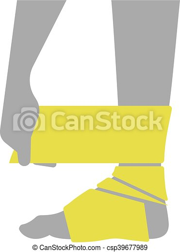 Flat icon injured leg or foot with a bandage - csp39677989
