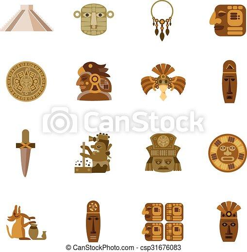 Flat Icon Maya Flat Icon Maya Indian Tribal Religion Symbols Set