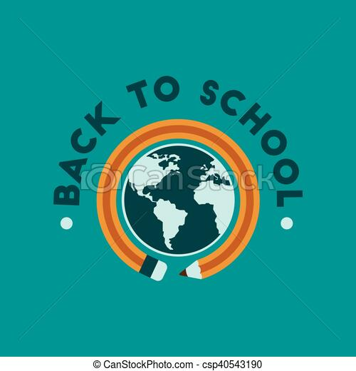 flat icon on background Back to school globe - csp40543190
