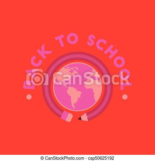 flat icon on background Back to school globe - csp50625192