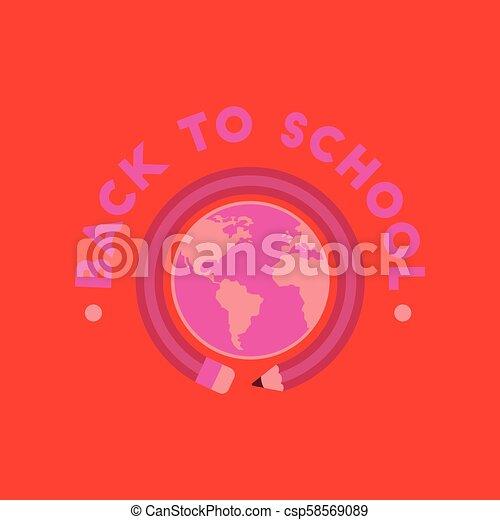 flat icon on background Back to school globe - csp58569089