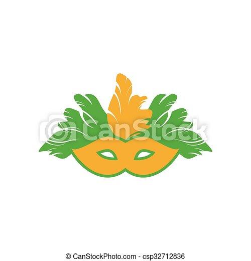 flat icon on white background Carnival mask - csp32712836